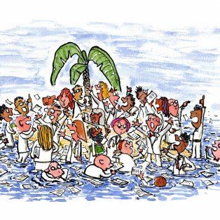 Tegning af eksperter der diskuterer på en lille ø, tegning af Frits Ahlefeldt