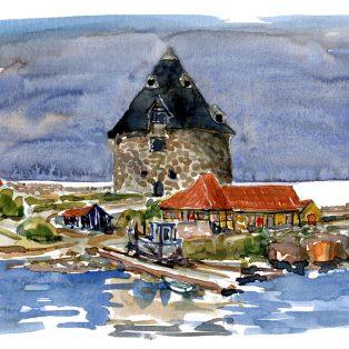 Akvarel fra christiansø, lilletaarn på Frederiksø, ertholmene Af Frits Ahlefeldt